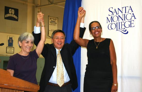 The Modern Languages and Cultures Department wins the inaugural SMC Foundation President's Circle Award for Innovation and Progress. SMC President Dr. Chui L. Tsang (center) celebrates with Spanish professor Maria Erickson (left) and Modern Languages Department Chair Toni Trives.