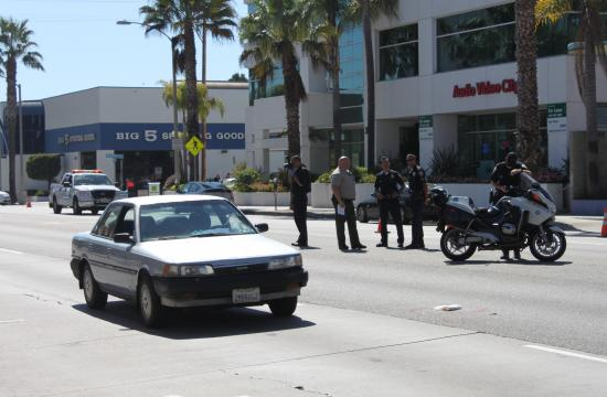 A 42-year-old woman was struck by this car on Wilshire Boulevard just before Centinela outside the BevMo store at 1:30 p.m. on Tuesday