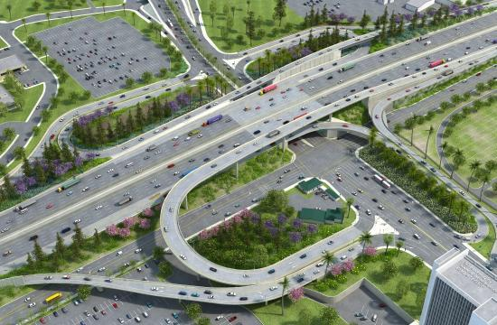A rendering of what the 405 Freeway will look like at Wilshire Boulevard. Reconstruction of all eight ramps is expected to take more than one year.