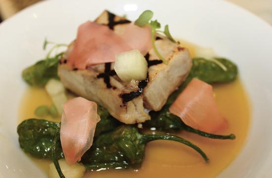 Local Yellowtail was featured at last month's FIG Farm Dinner series. The dish has shishito