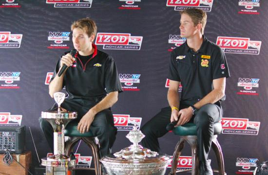 IndyCar point leader Will Power (left) speaks to media at an event held at Marisol restaurant on the Santa Monica Pier Thursday.  Rival Ryan Hunter-Reay (right)
