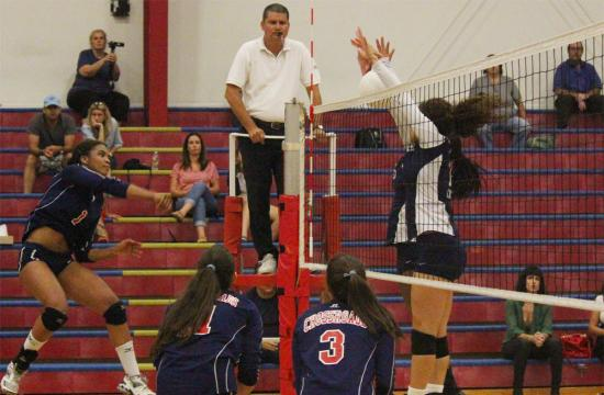 Cherokee Washington of the Crossroads Roadrunners scores a point against the Sierra Canyon Trailblazers during the first set at home Tuesday