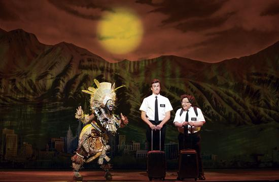 Gavin Creel as the devout and handsome Elder Kevin Price and Jared Gertner as the overweight nerd Elder Arnold Cunningham in The Book of Mormon.