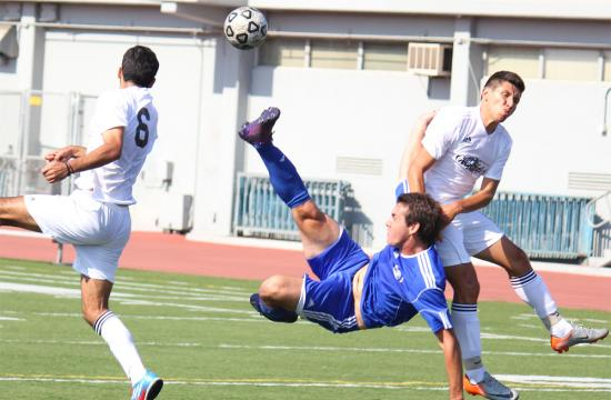 Forward Rafael Silva of the Santa Monica College Men's Soccer team kicks the ball while horizontal in mid air during the first half of a soccer game against Glendale at home Tuesday.