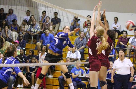 Pacifica Christian's Gen Hook makes a kill against Connelly during the first set to put the Seawolves up 19-9 at Culver City High School on Sept. 29.