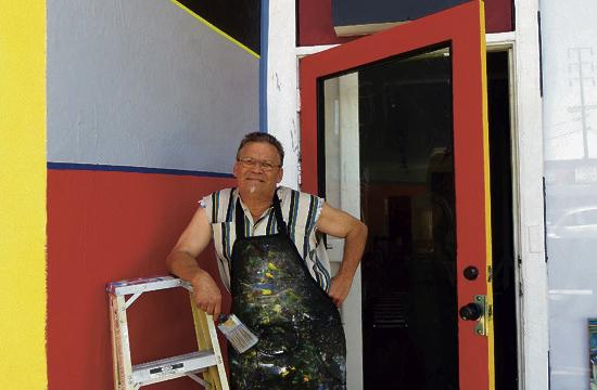 Michael Temple has painted the façade of Trunk Gallery as part of his new exhibition.