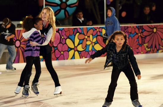 Children at the ICE skating rink in Downtown Santa Monica on opening night in 2011.
