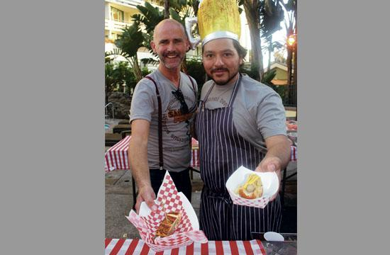 Fig Restaurant executive chef Ray Garcia (right) and server Robert Thorogood at Sunday's First Annual Sausage Fest.