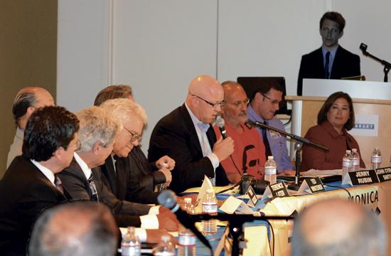 """Santa Monica City Council candidate Ted Winterer answers a question during The Mirror's 90-minute """"Hometown Forum"""" on Wednesday night."""