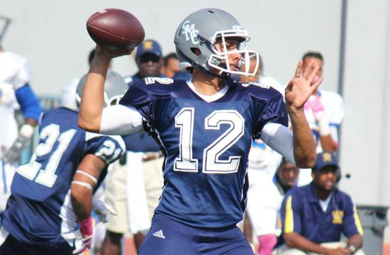Santa Monica College quarterback Alfonso Medina drops back to pass against LA Mission College Saturday afternoon Oct. 13. Medina leads the Pacific Conference with 28 passing touchdowns and 2382 total yards for the season.
