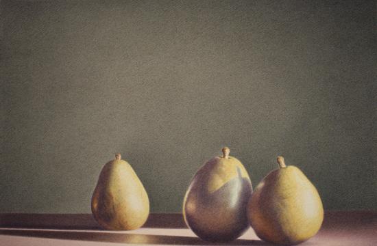 """Martha Alf's """"Three Pears Neptune"""" (color pencil)."""