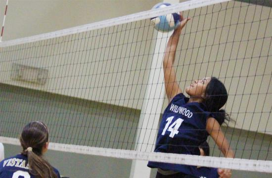Wildwood's Aethina Brooks goes up for a kill against Vistamar Monday night at the Willows Community Center in Culver City.
