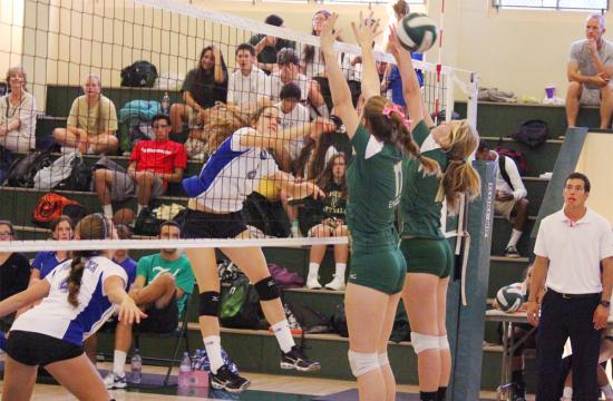 Pacifica Christian's Gen Hook slips the ball past the defense of the St. Monica Mariners with a kill during the second set to put the Seawolves up 4-0 Tuesday night at St. Monica.