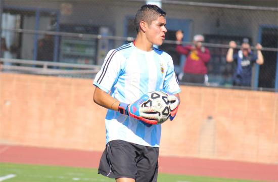Santa Monica College goalkeeper Danny Medina looks at the Moorpark defense before kicking the soccer ball down the field at home Tuesday afternoon.  Medina has limited Moorpark to only one goal in two games.