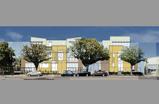 A rendering of the 19-unit condominium complex proposed for 14th Street between Santa Monica Boulevard and Broadway.