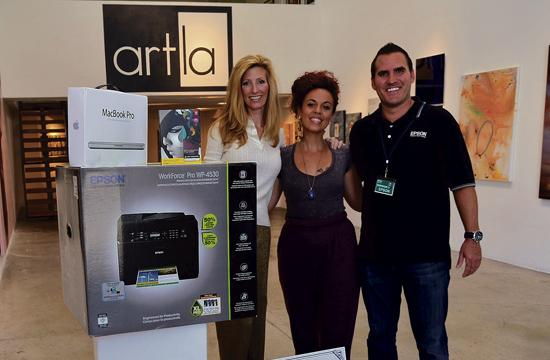 Amaryllis Moleski (center) with ArtLA.com founder Heidi Gray and Epson's Brian Foote.