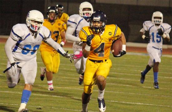 Vikings running back Russell Revis runs for a 48 yard touchdown after catching the ball off of a screen pass from quarterback Ryan Barbarin to put Santa Monica High School up 14-3 late in the third quarter against Culver City on Oct. 19.  The Vikings won the game 17-3.