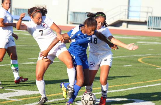Santa Monica College soccer forward Tylor Fields breaks away at Tuesday's game against Pierce College.