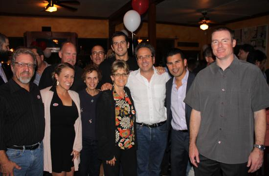 Santa Monica Mayor Richard Bloom with some of his supporters on Election Night. If the current vote count holds