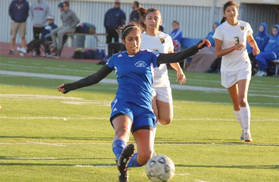 Santa Monica College midfielder Mahshar Zargar scores a goal in the first half against L.A. Valley College to make the game 4-0 at home Friday afternoon.
