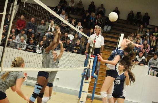 Vikings Nichelle Gray and Wiktoria Surowka attempt to block Viewpoint's Collette Franz during the CIF quarterfinals Saturday night at home.
