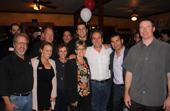 Santa Monica Mayor Richard Bloom (center) has declared victory in the race for the 50th Assembly District. He is pictured with some of his supporters on Election Night.