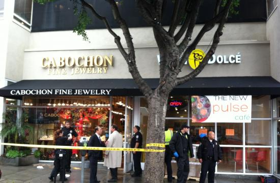 Santa Monica police respond to Cabochon Fine Jewelry at 1426 Montana on Friday
