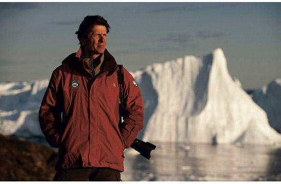 James Balog with icebergs at Ilulissat Isfjord
