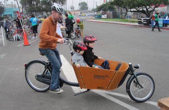 Flying Pigeon LA cargo bike offered test rides at Santa Monica Family Bike Festival on Dec. 8.