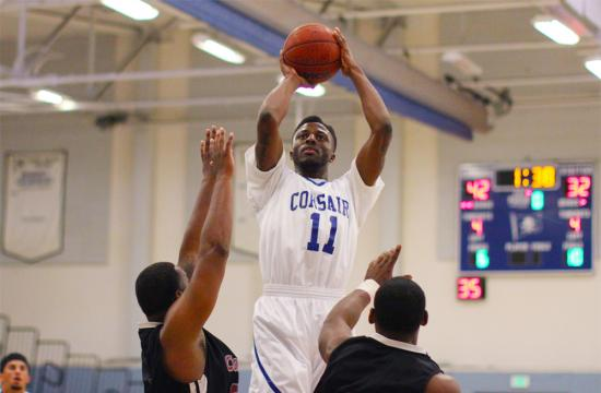 SMC's forward David Nwaba goes up for a shot in the second quarter against the Tartars at home Saturday afternoon.  Nwaba had 28 points in the game.