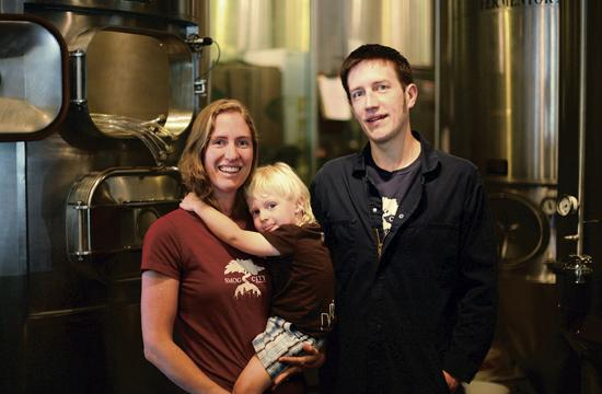 Smog City founders Jonathan and Laurie Porter with their son Emmett. Their craft beer brews are available at a handful of locations across Santa Monica.