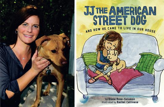 """Author Diane Rose-Solomon and her dog Gonzo. She recently published the first book in her """"JJ"""" series called """"JJ The American Street Dog and How He Came to Live In Our House."""""""