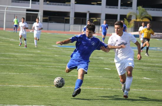 Santa Monica College soccer forward Alessandro Canale during a game against Glendale earlier this season. He turned down an offer to attend San Francisco State in the fall so he could continue to play soccer at SMC.