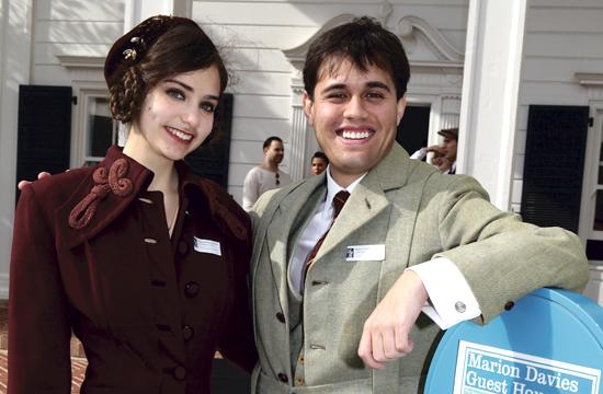 Nicole DeSilva and Dylan Regaldo in period costume at the Annenberg Community Beach House in Santa Monica on Sunday for the Marion Davies Celebration.
