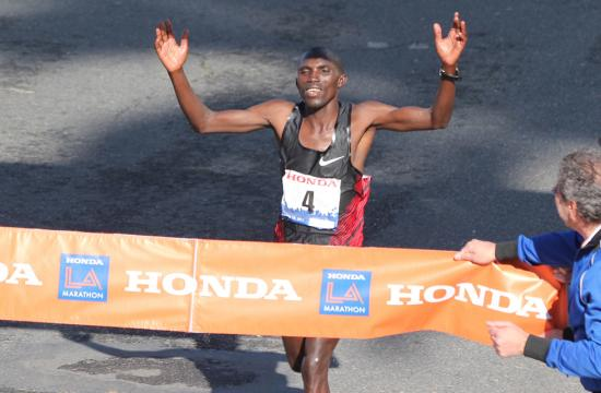 Simon Njoroge of Kenya captures the men's title in the LA Marathon 2012 with a time of 2:12:11 in Santa Monica March 18