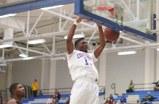 SMC guard David Nwaba makes a dunk off of a fast break to put the Corsairs within seven at 58-51 during the second half against LA Valley at home Saturday afternoon.
