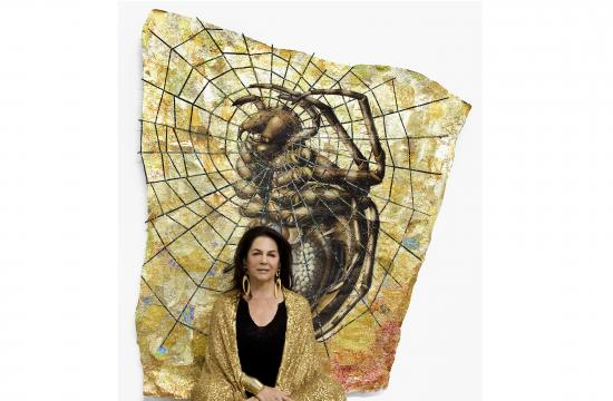 Miriam Wosk in front of Dream Weaver