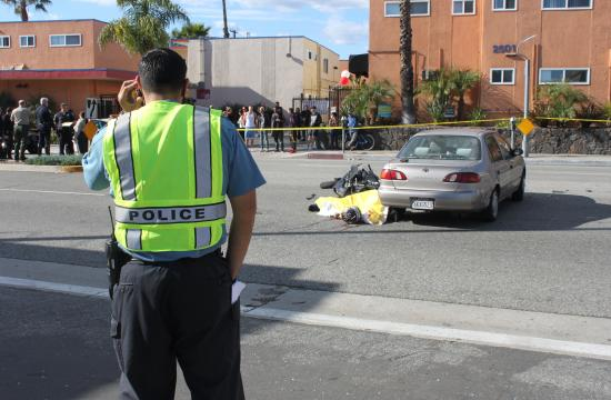 A motorcyclist was killed on Pico Boulevard at 25th Street at about 1 p.m. on Monday