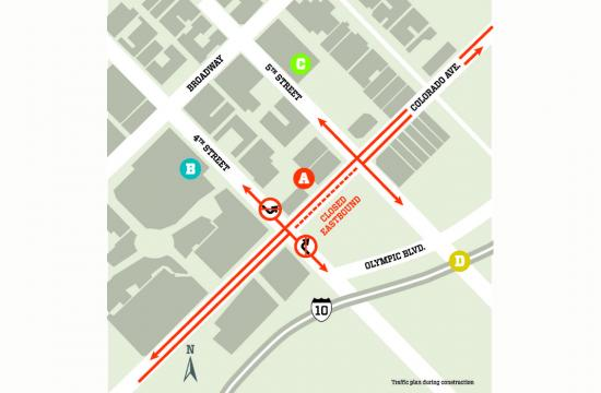 A map of the permanent closure of eastbound Colorado Avenue in downtown Santa Monica
