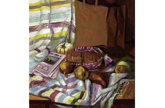 "Joan Horsfall Young's  ""Packaged Bread Oil"" on linen 36x28."