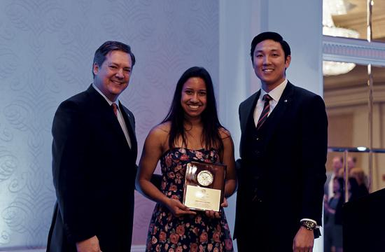 Gretchen Galanis has been named 2012 Youth of the Year. She is pictured with Board of Governors Chairman Bill Dawson (left) and Stan Choo of Kiwanis Club of Santa Monica.