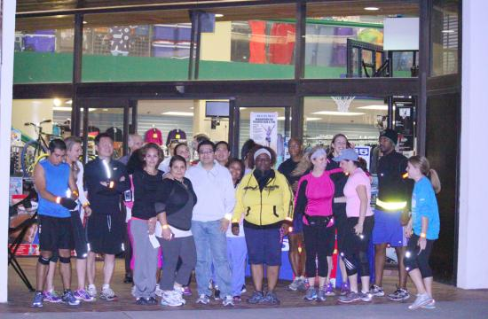 LA Marathon runners gather in front of a Big 5 store on 3121 Wilshire Blvd. in Santa Monica for the first 5K free training run for the upcoming LA Marathon 2013 Wednesday night.
