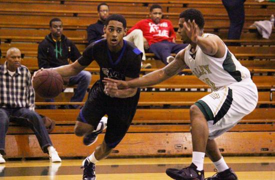 SMC's Keilan Horton makes a move against LA Valley's Cameron Bailey away at LA Valley Wednesday night.