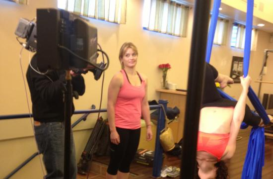 'Today' show news correspondent Sara Haines films at M7 fitness a few weeks ago for the pre-taped segment.