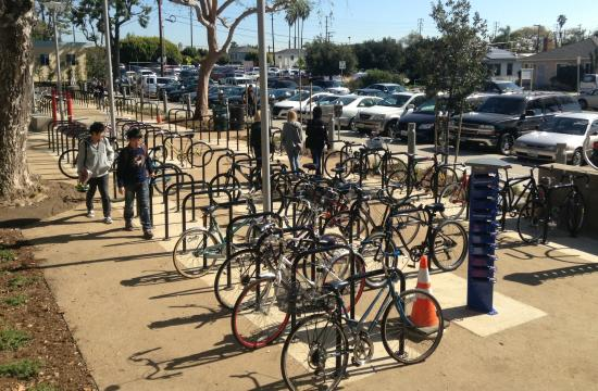 Santa Monica College has completed a new 400-space south campus bike parking lot.