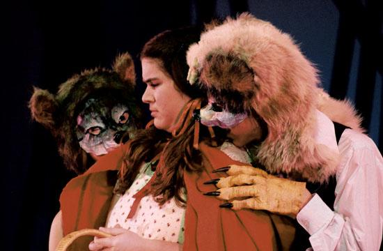 Crafty wolves Daria Yaari and Matt Grifka pursue Little Red Riding Hood (Caragh Tiernan).