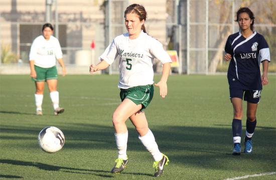 St. Monica soccer forward Sasha Meyer looks to score her fourth goal against Loma Vista in the first round CIF Playoffs at Airport Park Thursday