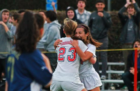 Crossroads Bella Hernandez(right) celebrates with Izzy Rosenstein after scoring a goal against Vistamar at home Tuesday evening.