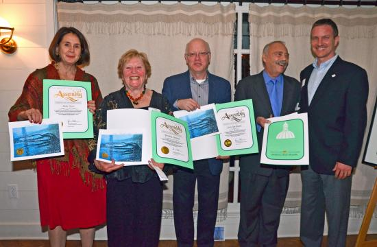 Inaugural Santa Monica Arts Leadership 2013 Honorees and Mayor Pro Tempore Terry O'Day. From left: Abby Sher