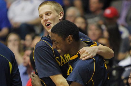 Samohi guard Quinton Foshag (left) and guard Jonah Matthews (right) react moments before the end of the CIF Southern Section Championship basketball game against El Toro at the Anaheim Arena Saturday night.  The Vikings won the game 66-56.